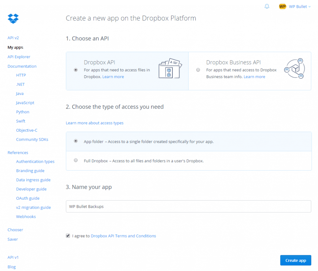 dropbox-app-settings