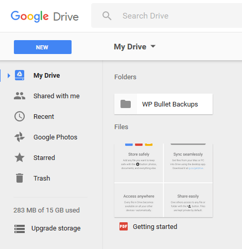 gdrive-show-created-directory